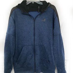 Adidas Blue Zipper Hoodie - Size Medium